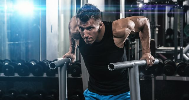 man during workout in the gym