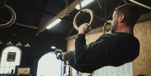 Man Exercising with Gymnastic Rings