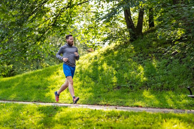 man jogging in a park