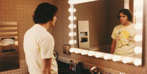 Room, Mirror, Bathroom, Interior design, Plumbing fixture,