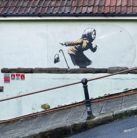 new banksy art work appears on side of  bristol house