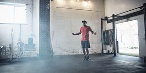 Man skipping in gym