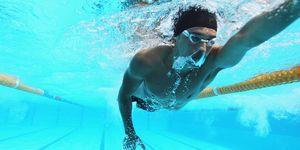 cinco, motivos, natación, correr, rápido