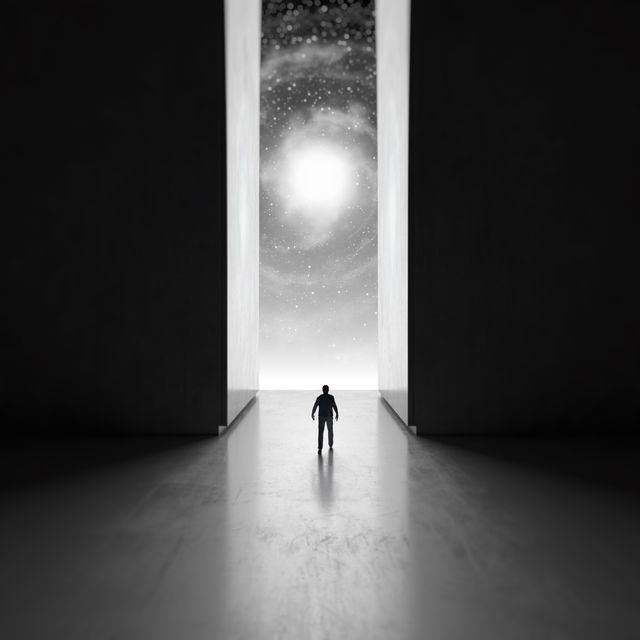 man walking through interdimensional passage