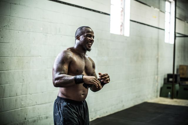gym - man laughing in gym gym
