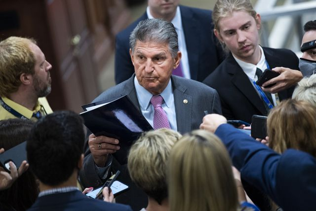 united states   may 25 sen joe manchin, d wva,  talks with reporters in the senate subway during a vote on tuesday, may 25, 2021 photo by tom williamscq roll call