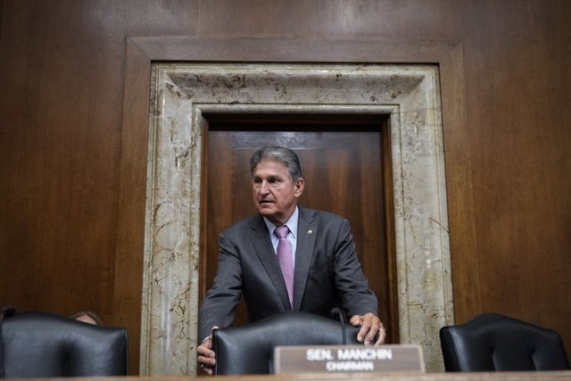 washington, dc   june 15 committee chairman sen joe manchin d wv arrives for a senate committee on energy and natural resources hearing on capitol hill june 15, 2021 in washington, dc the hearing focused on president biden's budget request for the department of energy for fiscal year 2022 photo by drew angerergetty images