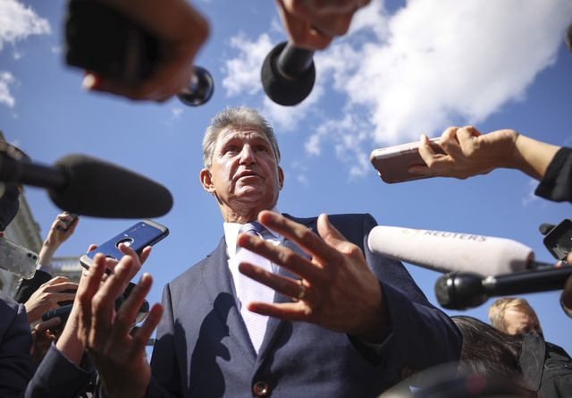 washington, dc   september 30  sen joe manchin d wv speaks to reporters outside of the us capitol on september 30, 2021 in washington, dc the senate is expected to pass a short term spending bill to avoid a government shutdown photo by kevin dietschgetty images