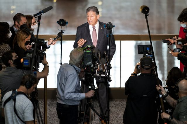 united states   october 6 sen joe manchin, d w va, holds a news conference in the hart senate office building on wednesday, oct 6, 2021 photo by bill clarkcq roll call, inc via getty images