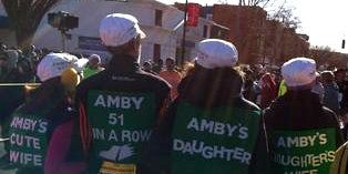 Amby Burfoot and family at 2013 Manchester Road Race