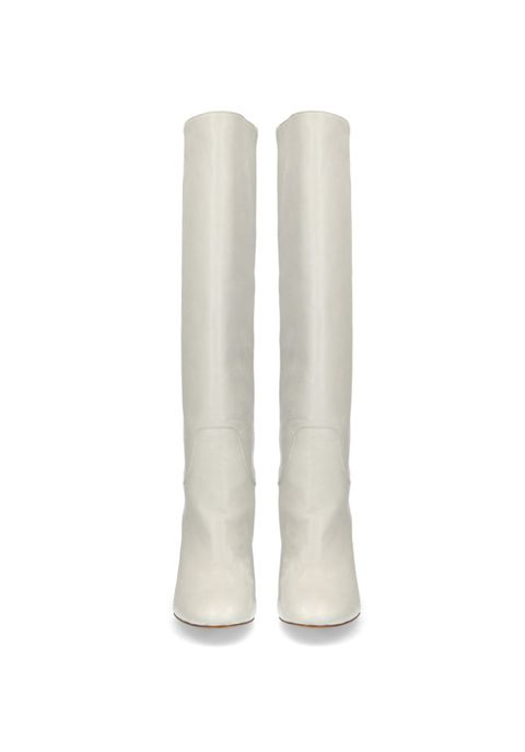 Footwear, White, Boot, Knee-high boot, Beige, Shoe, Riding boot,