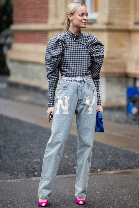 Denim, Street fashion, Clothing, Jeans, Fashion, Blue, Plaid, Dress shirt, Snapshot, Pattern,