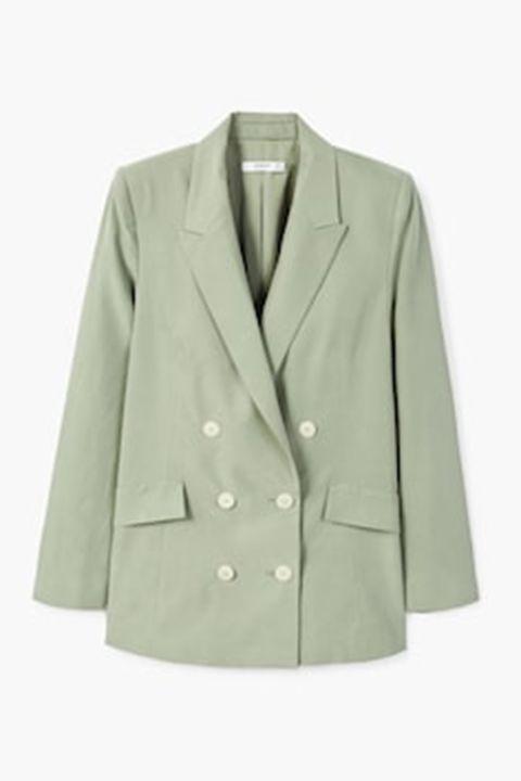 Clothing, Outerwear, Jacket, Blazer, Sleeve, Beige, Coat, Top, Button, Suit,