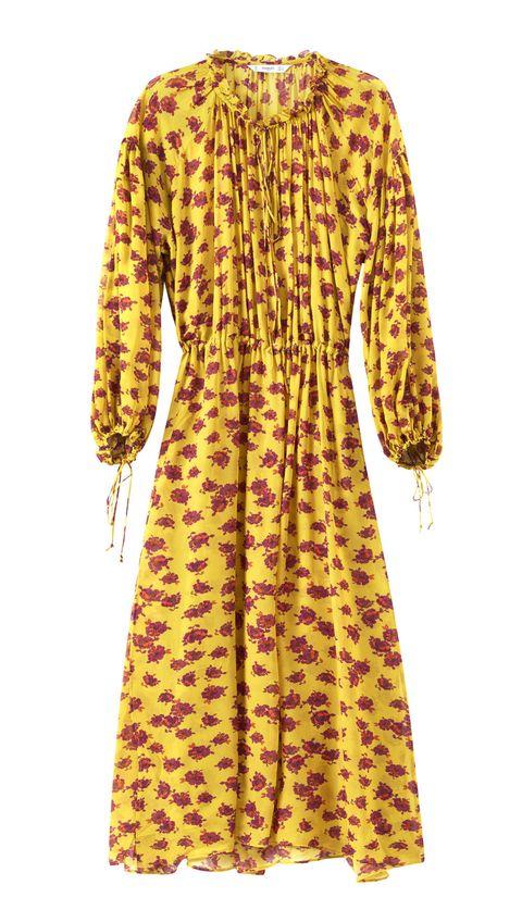 Clothing, Day dress, Yellow, Sleeve, Dress, Outerwear, Neck, Collar, Fur,