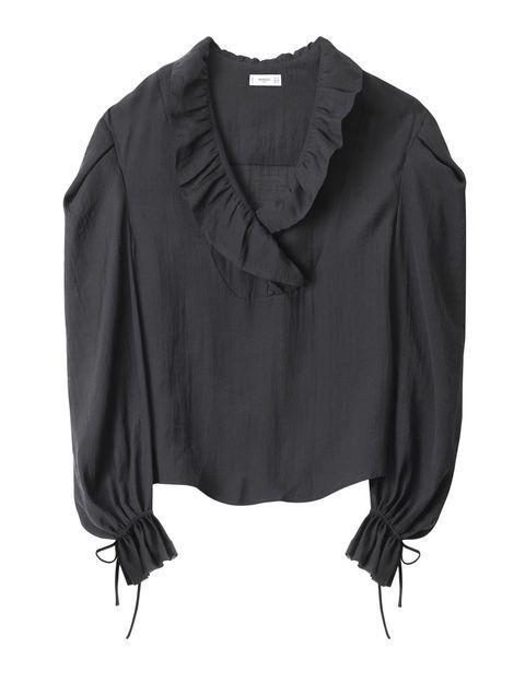 Clothing, Black, Sleeve, Blouse, Outerwear, Shirt, Neck, Top, Collar, Jacket,