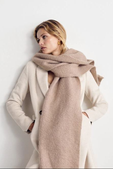 Clothing, White, Skin, Outerwear, Fur, Coat, Overcoat, Fashion, Neck, Fur clothing,