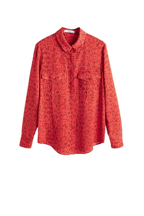 Clothing, Sleeve, Orange, Red, Collar, Shirt, Blouse, Button, Outerwear, Top,