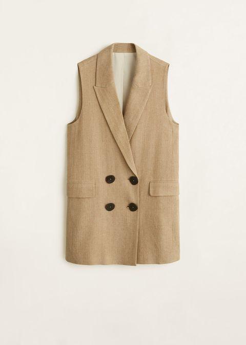 Clothing, Outerwear, Beige, Coat, Tan, Jacket, Sleeve, Formal wear, Button, Pocket,