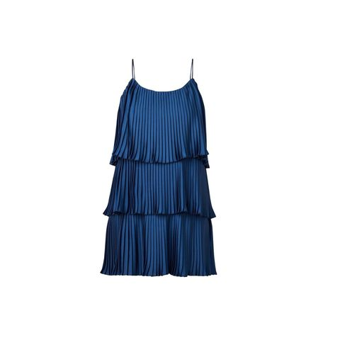 Clothing, Blue, Cobalt blue, Dress, Turquoise, Cocktail dress, Ruffle, One-piece garment, Electric blue, Day dress,