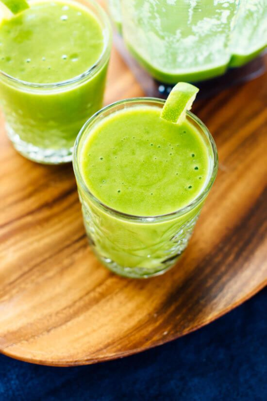 Mango-Rita Green Smoothie This delicious blend of mango, pineapple, coconut water, and lime is a refreshing summer beverage. You could even blend in a shot of something strong for a healthy-ish cocktail.