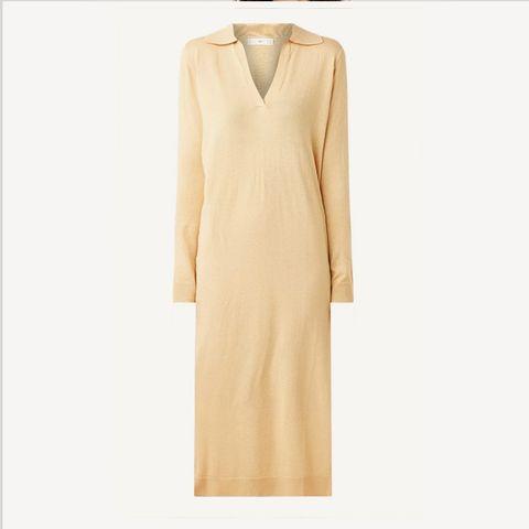 fijngebreide trui jurk in kasjmierblend