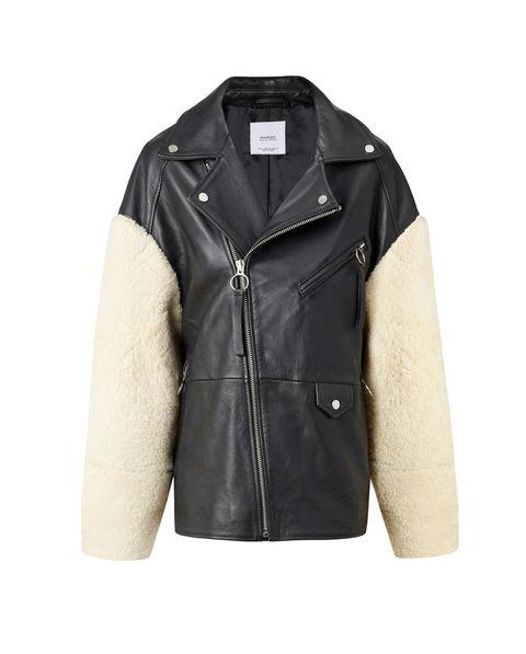 Clothing, Jacket, Outerwear, Leather, White, Sleeve, Leather jacket, Beige, Textile, Fur,