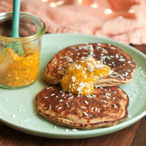 Mango Protein Pancakes with Mango Coconut Chia Jam
