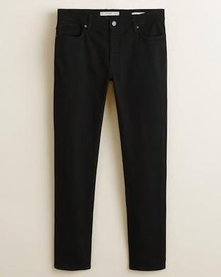 Mango pantalón negro slim fit, pantalón negro hombre