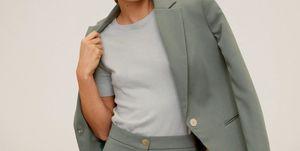 traje mujer bajitas barato mango