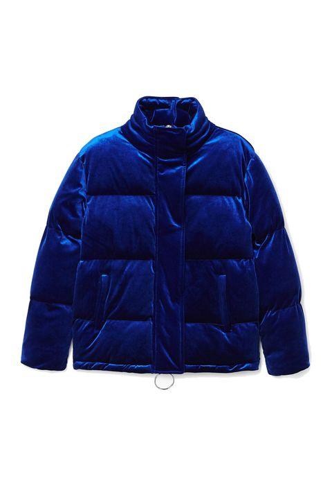 Cobalt blue, Clothing, Blue, Jacket, Outerwear, Electric blue, Sleeve, Hood, Puffer, Zipper,