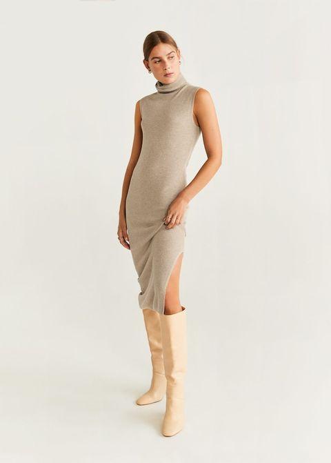 Clothing, Shoulder, Dress, Neck, Beige, Standing, Sleeve, Joint, Footwear, Knee,