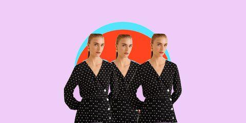 Pink, Pattern, Design, Dance, Polka dot, Outerwear, Performing arts, Performance, Magenta, Sleeve,