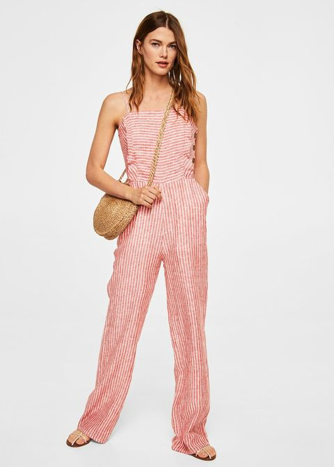 7edfab6285 courtesy of brand. For weekends  Mango Casual Linen-Blend Striped Jumpsuit