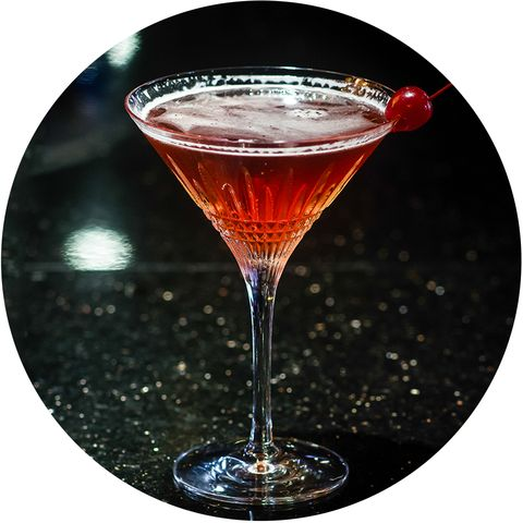 Drink, Classic cocktail, Martini glass, Alcoholic beverage, Manhattan, Cocktail, Rob roy, Bacardi cocktail, Jack rose, Cranberry juice,