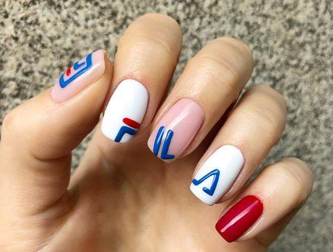 Nail polish, Nail, Manicure, Nail care, Finger, Blue, Cosmetics, Beauty, Hand, Service,