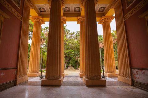 Column, Architecture, Building, Room, Lobby, House, Interior design, Tree, Palace, Door,