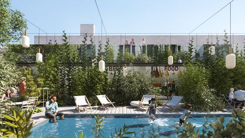 Swimming pool, Property, Water, Residential area, Leisure, Tree, Real estate, Building, Architecture, Resort,