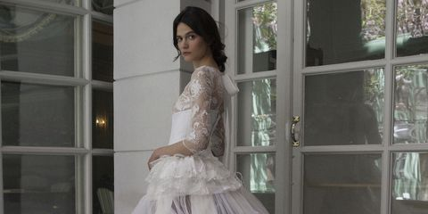 Clothing, Hairstyle, Sleeve, Shoulder, Textile, Dress, Photograph, Bridal clothing, Formal wear, Gown,