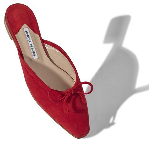 manolo blahnik red suede mule slippers
