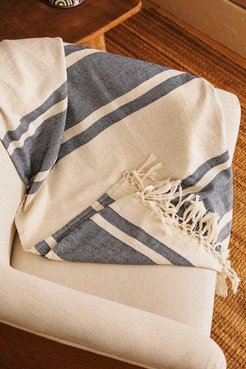 manta de lino a rayas