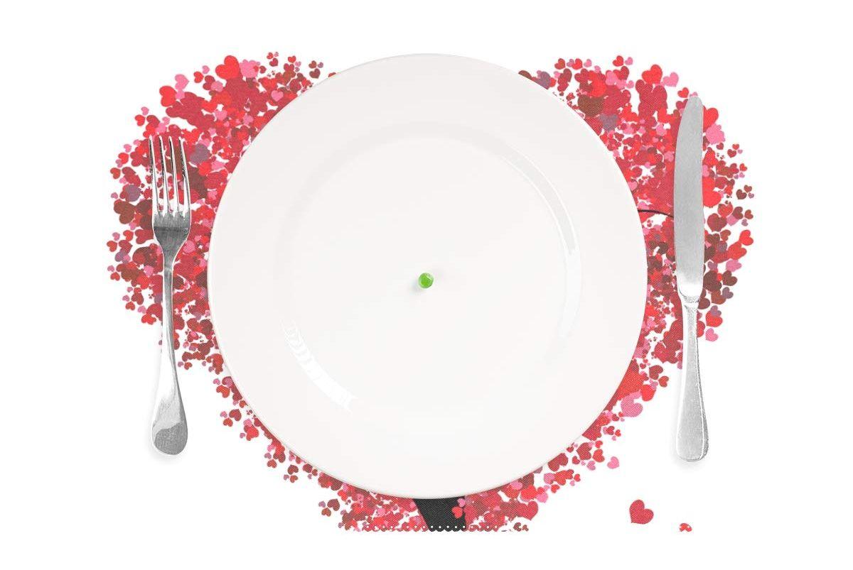 Manteles Individuales de San Valentín con Forma de corazón