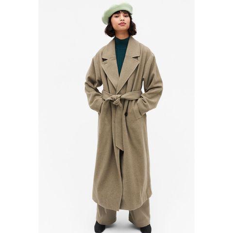 lange mantel jas dames monki met strikdetail