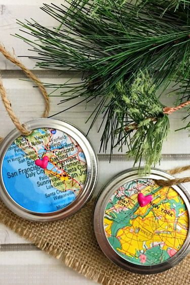 Attractive Mason Jar Ring Map Homemade Christmas Ornament