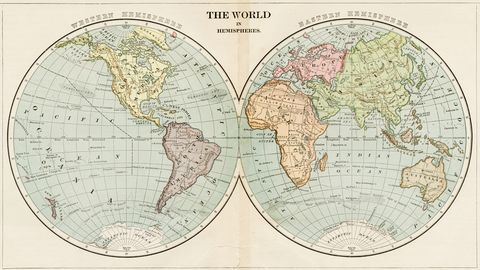 map of the world in hemispheres 1899