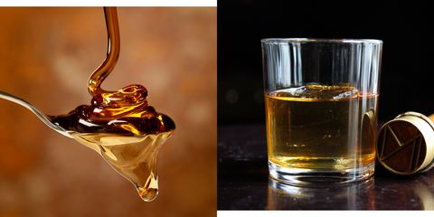 Drink, Liqueur, Amaretto, Alcohol, Distilled beverage, Alcoholic beverage, Whisky, Scotch whisky, Old fashioned glass, Rusty nail,