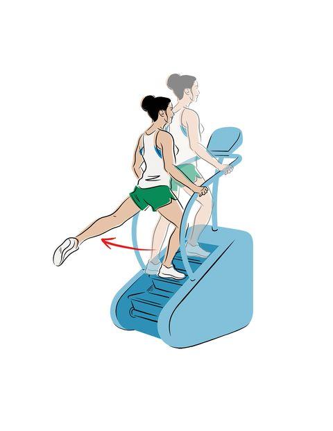 glúteos ejercicio máquina escaleras con patada