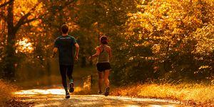 Dan Roe and Amanda Furrer running downhill in Emmaus, PA.
