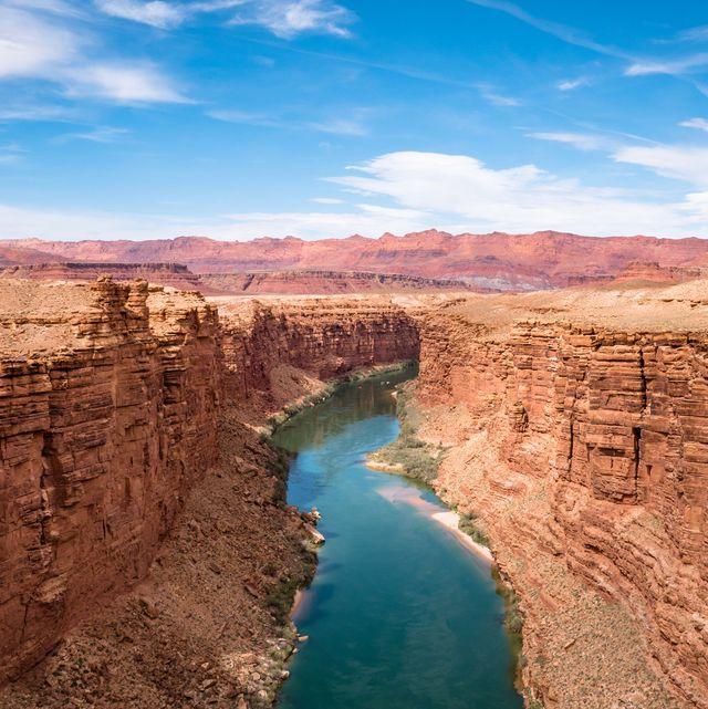 grand canyon national park  page, usa   april 17, 2019 marble canyon bridge and colorado river near page arizona