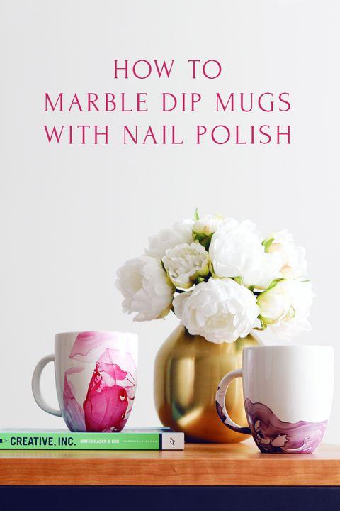 marble dipped mugs nail polish diy christmas gifts