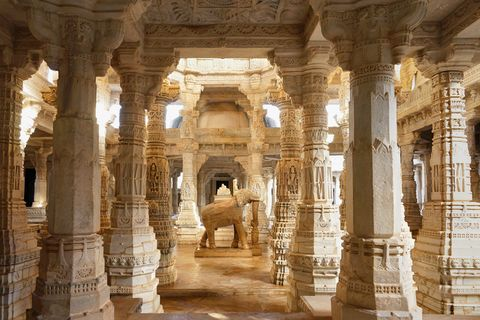 marble elephant  in fully carved famous sandstone jain temple in ranakpur